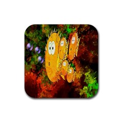 Abstract Fish Artwork Digital Art Rubber Square Coaster (4 Pack)  by Nexatart