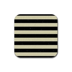 Stripes2 Black Marble & Beige Linen Rubber Coaster (square) by trendistuff