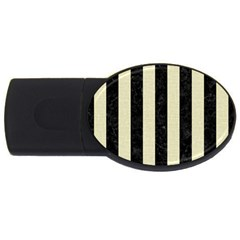 Stripes1 Black Marble & Beige Linen Usb Flash Drive Oval (4 Gb) by trendistuff