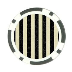 Stripes1 Black Marble & Beige Linen Poker Chip Card Guard by trendistuff