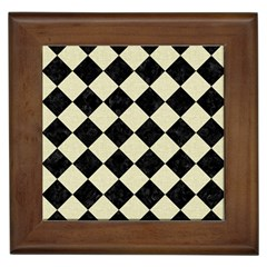 Square2 Black Marble & Beige Linen Framed Tile by trendistuff