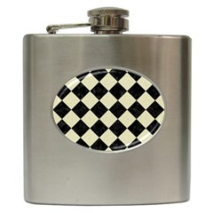 Square2 Black Marble & Beige Linen Hip Flask (6 Oz) by trendistuff