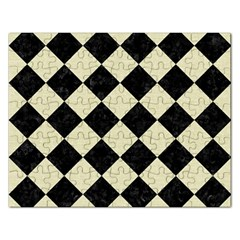Square2 Black Marble & Beige Linen Jigsaw Puzzle (rectangular) by trendistuff
