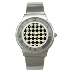 Square2 Black Marble & Beige Linen Stainless Steel Watch by trendistuff