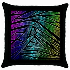 Abstract Background Rainbow Metal Throw Pillow Case (black) by Nexatart
