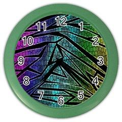 Abstract Background Rainbow Metal Color Wall Clocks by Nexatart