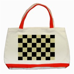 Square1 Black Marble & Beige Linen Classic Tote Bag (red) by trendistuff
