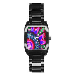 Abstract Digital Art  Stainless Steel Barrel Watch