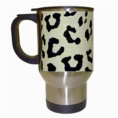 Skin5 Black Marble & Beige Linen Travel Mug (white) by trendistuff