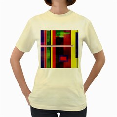 Abstract Art Geometric Background Women s Yellow T-shirt by Nexatart