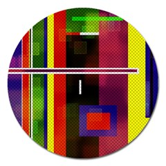 Abstract Art Geometric Background Magnet 5  (round) by Nexatart