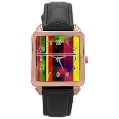 Abstract Art Geometric Background Rose Gold Leather Watch  by Nexatart