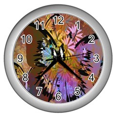 Abstract Digital Art Wall Clocks (silver)
