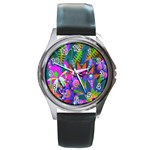 Abstract Digital Art  Round Metal Watch Front