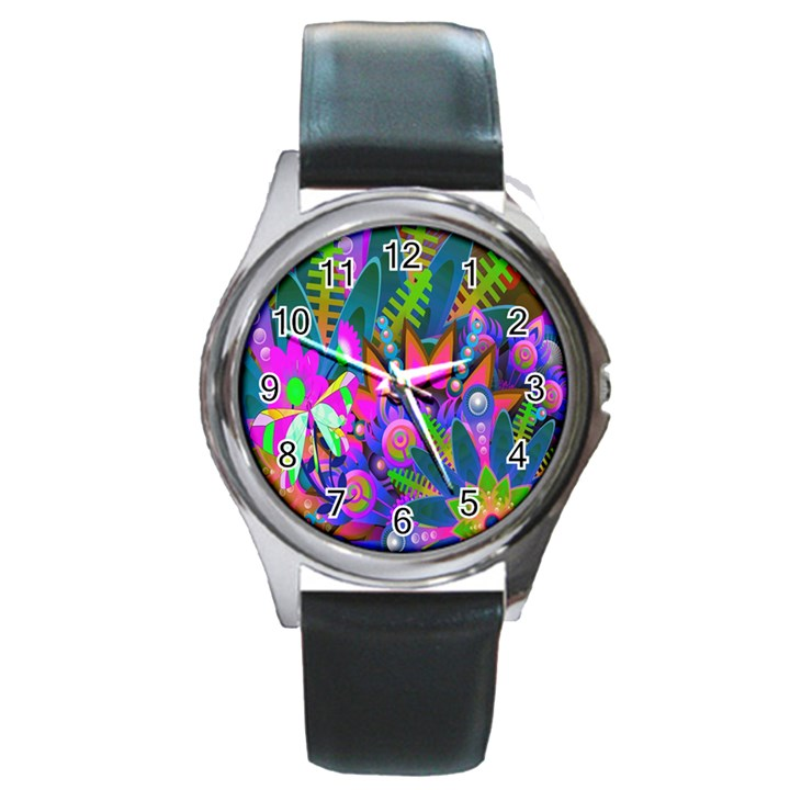 Abstract Digital Art  Round Metal Watch