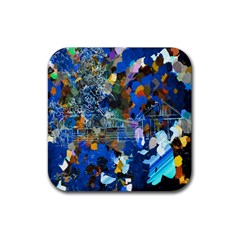 Abstract Farm Digital Art Rubber Square Coaster (4 Pack)  by Nexatart
