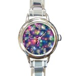 Abstract Background Graphic Design Round Italian Charm Watch Front