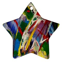 Abstract Art Art Artwork Colorful Star Ornament (two Sides) by Nexatart