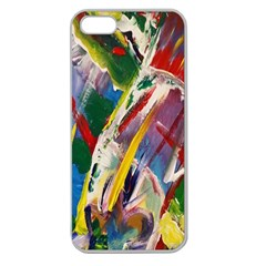 Abstract Art Art Artwork Colorful Apple Seamless Iphone 5 Case (clear) by Nexatart