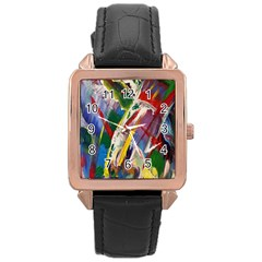 Abstract Art Art Artwork Colorful Rose Gold Leather Watch  by Nexatart