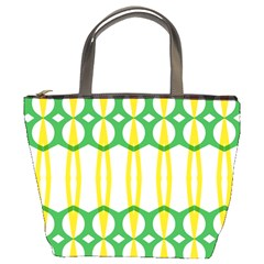 Green Yellow Shapes                                                                                                                   	bucket Bag by LalyLauraFLM