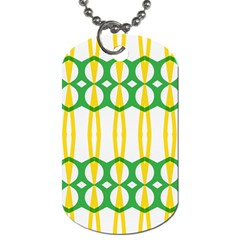 Green Yellow Shapes                                                                                                                   			dog Tag (one Side) by LalyLauraFLM