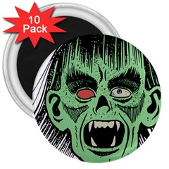 Zombie Face Vector Clipart 3  Magnets (10 Pack)