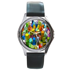 Cubes Assorted Random Toys Round Metal Watch
