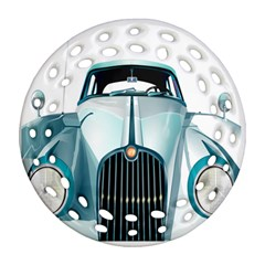 Oldtimer Car Vintage Automobile Round Filigree Ornament (two Sides) by Nexatart