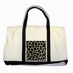 Skin1 Black Marble & Beige Linen (r) Two Tone Tote Bag by trendistuff