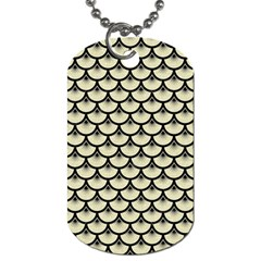 Scales3 Black Marble & Beige Linen (r) Dog Tag (one Side) by trendistuff