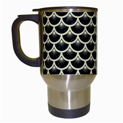 Scales3 Black Marble & Beige Linen Travel Mug (white) by trendistuff