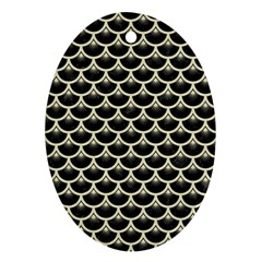 Scales3 Black Marble & Beige Linen Oval Ornament (two Sides) by trendistuff
