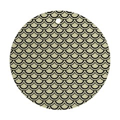 Scales2 Black Marble & Beige Linen (r) Round Ornament (two Sides) by trendistuff