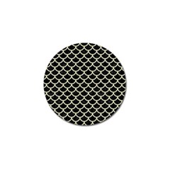 Scales1 Black Marble & Beige Linen Golf Ball Marker (4 Pack) by trendistuff