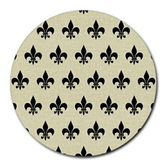 Royal1 Black Marble & Beige Linen Round Mousepad by trendistuff