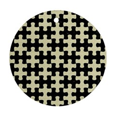 Puzzle1 Black Marble & Beige Linen Round Ornament (two Sides) by trendistuff
