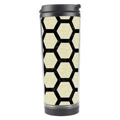 Hexagon2 Black Marble & Beige Linen (r) Travel Tumbler by trendistuff