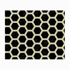 Hexagon2 Black Marble & Beige Linen Small Glasses Cloth by trendistuff