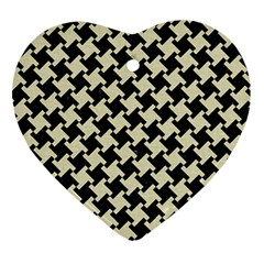 Houndstooth2 Black Marble & Beige Linen Ornament (heart) by trendistuff