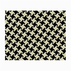 Houndstooth2 Black Marble & Beige Linen Small Glasses Cloth (2 Sides) by trendistuff