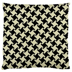Houndstooth2 Black Marble & Beige Linen Large Cushion Case (one Side) by trendistuff