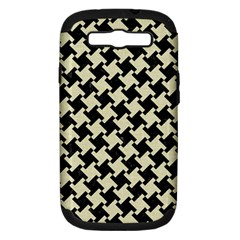 Houndstooth2 Black Marble & Beige Linen Samsung Galaxy S Iii Hardshell Case (pc+silicone) by trendistuff