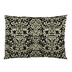 Damask2 Black Marble & Beige Linen Pillow Case (two Sides)