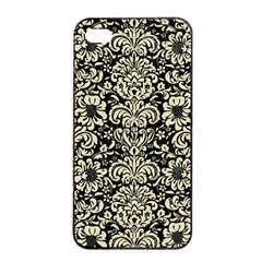 Damask2 Black Marble & Beige Linen Apple Iphone 4/4s Seamless Case (black) by trendistuff