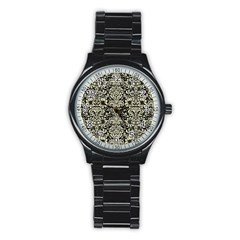 Damask2 Black Marble & Beige Linen Stainless Steel Round Watch by trendistuff