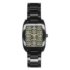 Damask2 Black Marble & Beige Linen Stainless Steel Barrel Watch by trendistuff