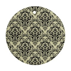Damask1 Black Marble & Beige Linen (r) Round Ornament (two Sides) by trendistuff