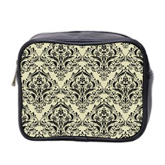 Damask1 Black Marble & Beige Linen (r) Mini Toiletries Bag (two Sides) by trendistuff