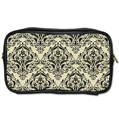Damask1 Black Marble & Beige Linen (r) Toiletries Bag (two Sides) by trendistuff